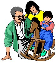 Mother and Father watching a child ride a rocking horse