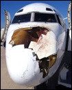 photo of a broken nose on an airplane