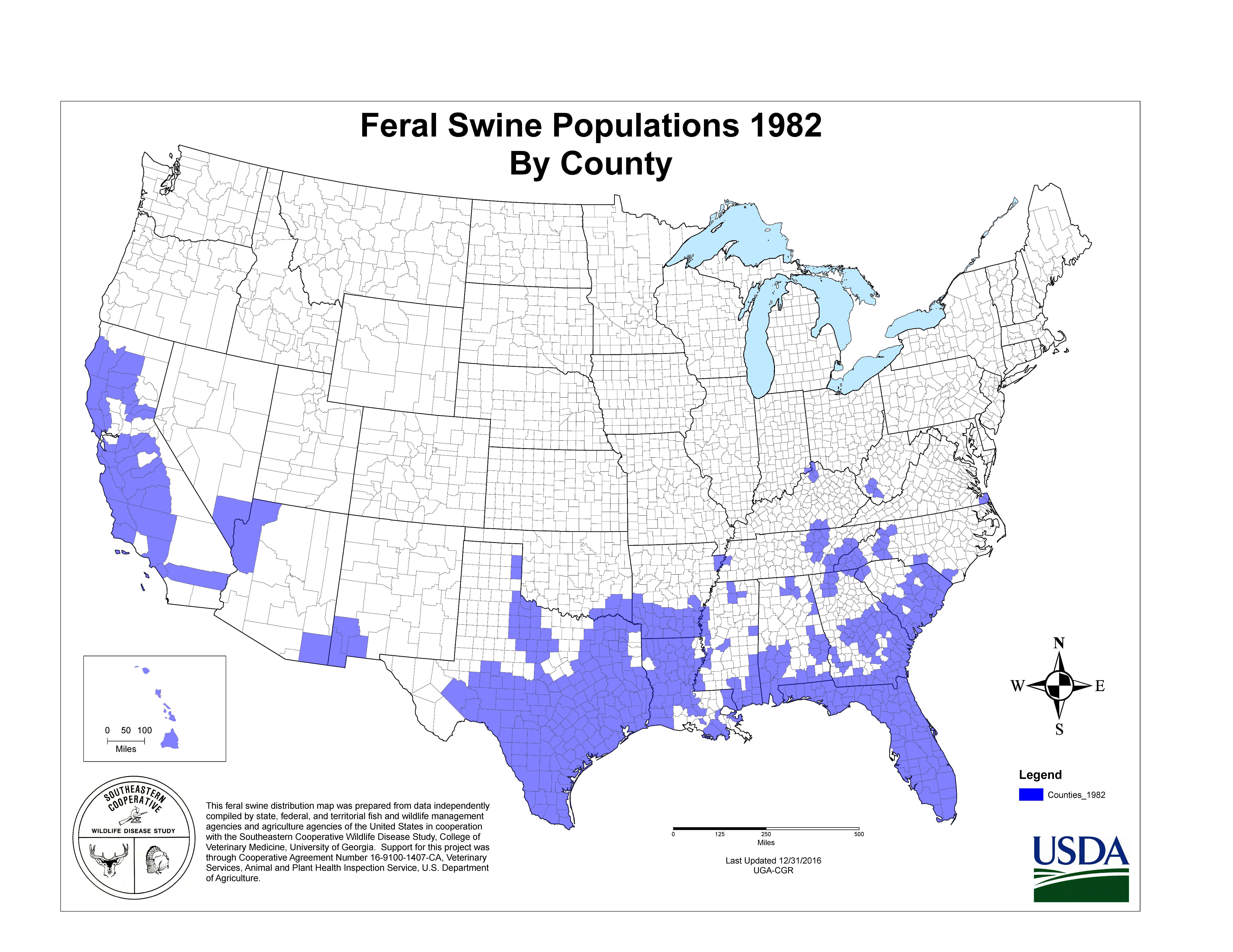Us Wild Pig Population Map USDA APHIS | History of Feral Swine in the Americas